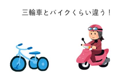 三輪車とバイクくらい違う