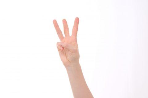 指で3を表している