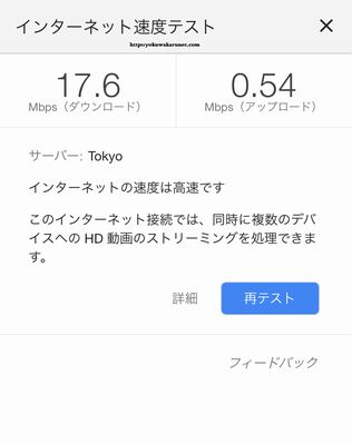 WiMAXハイスピードのスピードテスト結果